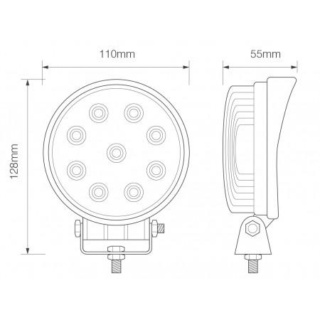 Round 9 x 3W LEDs Work Lamp - 10-110V