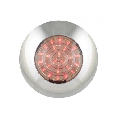 Round Interior Lamp – Red With Chrome Bezel