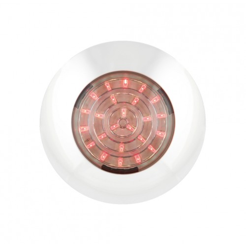 Round Interior Lamp – Red With White Bezel