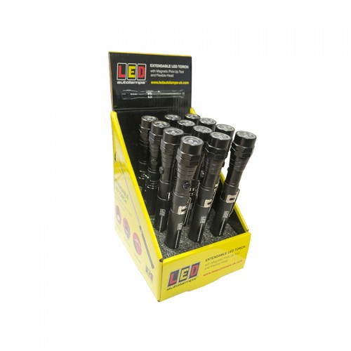 Extendable LED Torch - 12-Torch Counter Pack